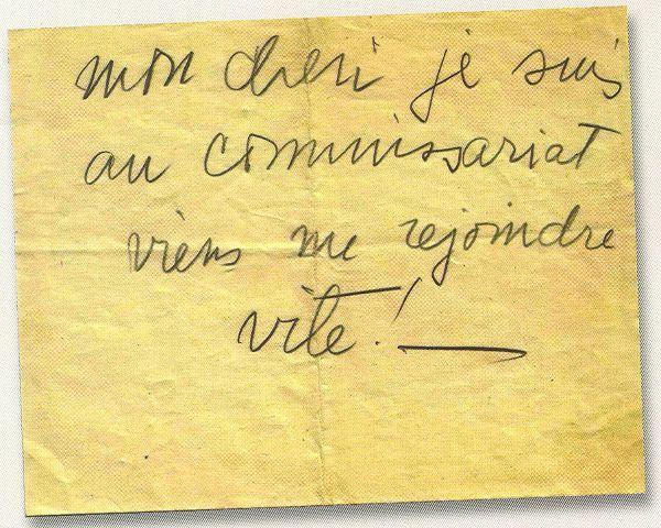Billet de la main de la mère de Georges Gheldman, 16 juillet 1942