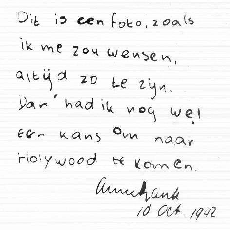 Quelques mots manuscrits de l'écriture d'Anne Frank
