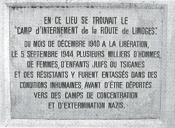 Plaque commémorative apposée en 1985 à Poitiers