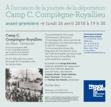 Invitation à la projection du documentaire de Marc Tavernier, au Mémorial de la Shoah.