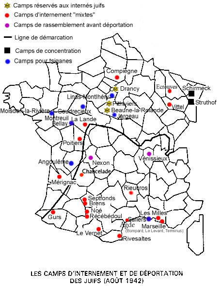 Carte des camps en France