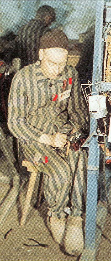 Photographie de déporté prise dans le tunnel de Dora, en 1944, par un photographe nazi.