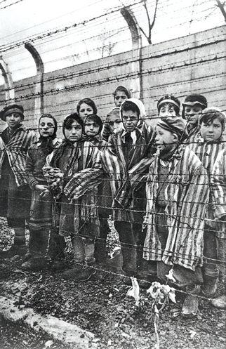 Un groupe d'enfants juste après la libération d'Auschwitz