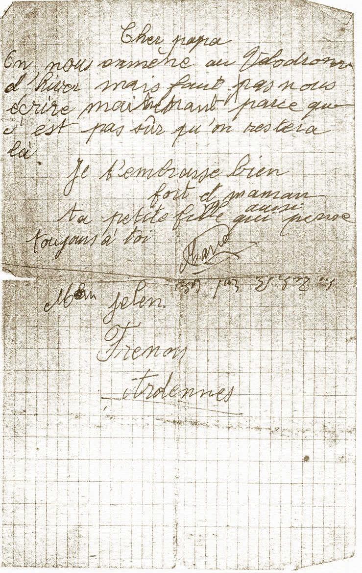 Lettre de Marie Jelen annonçant à son père son arrestation
