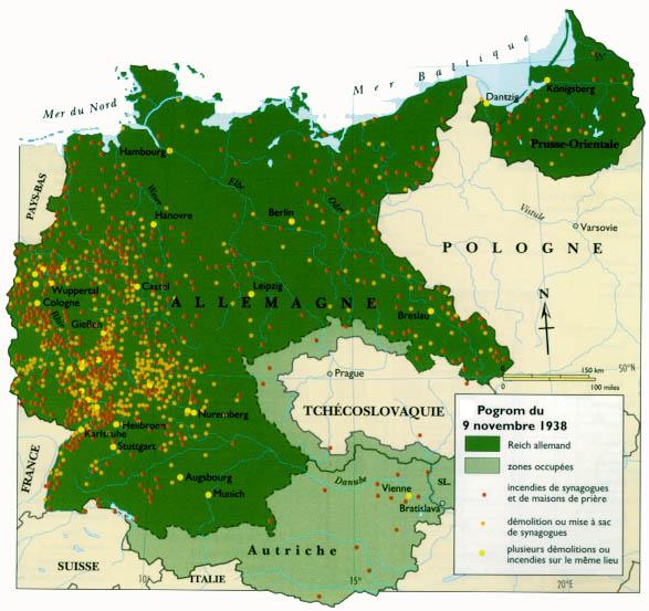 Carte d'Allemagne couverte de points indiquant les exactions