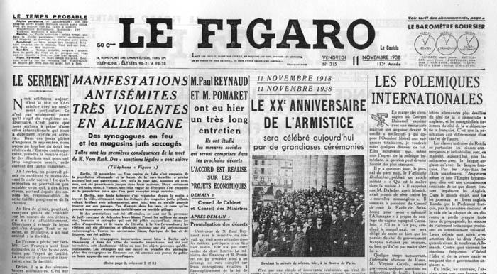La Une du Figaro : Manifestations antisémites très violentes en Allemagne, Des synagogues en feu et les magasins juifs saccagés.