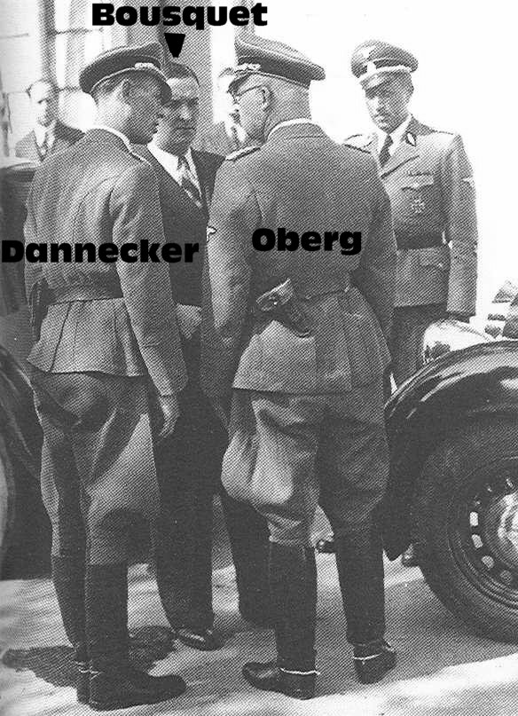 Bousquet discute avec Dannecker et Oberg.jpg, en 1942.